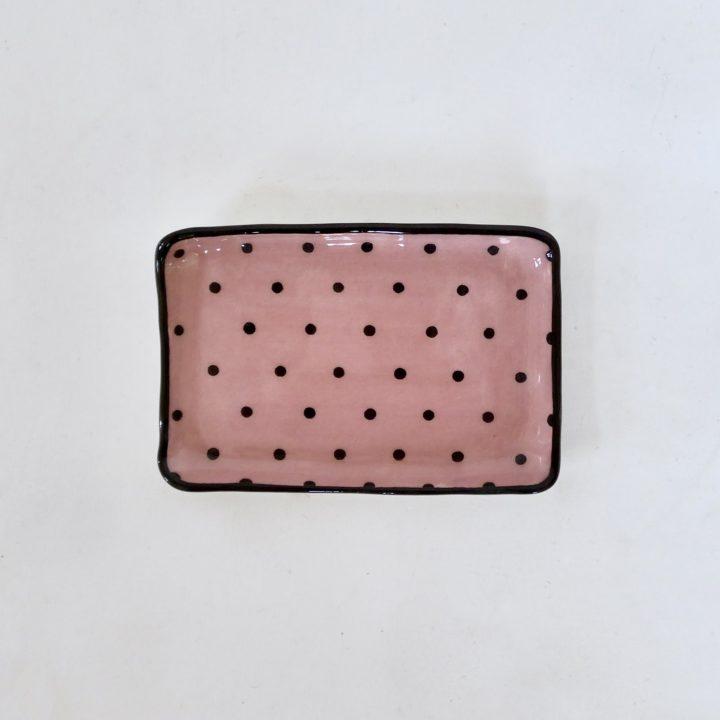 Sous-tasse rose à pois